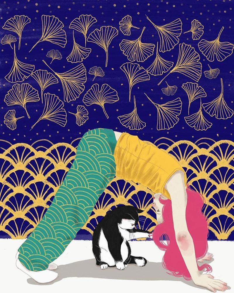 Illustrations chats Margherita Grasso, La Nature Câline des Chats Merveilleusement Illustrée