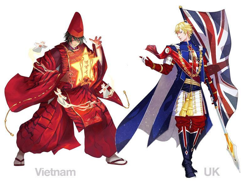 personnages jap animes pays jo 2020 02 - Pays Participants aux JO 2020 de Tokyo en Personnages d'Animes