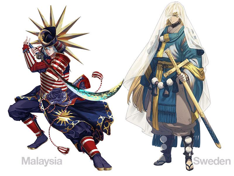 personnages jap animes pays jo 2020 05 - Pays Participants aux JO 2020 de Tokyo en Personnages d'Animes