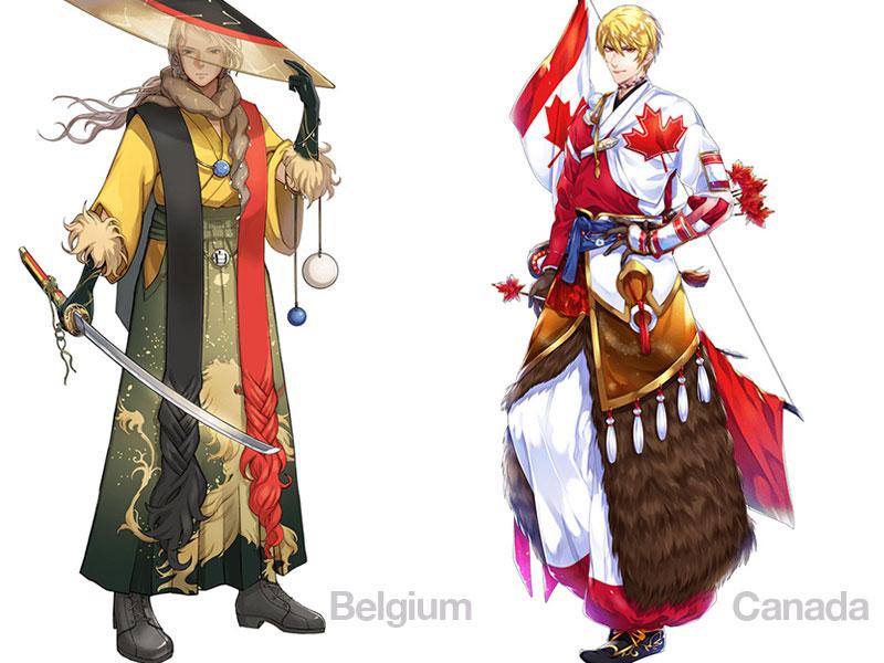 personnages jap animes pays jo 2020 07 - Pays Participants aux JO 2020 de Tokyo en Personnages d'Animes