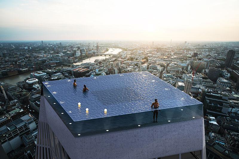 piscine toit hôtel, Piscine à Débordement sur le Toit d'un Hotel de Luxe à Londres