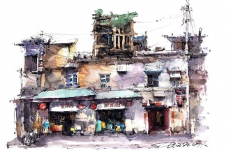 aquarelle boutiques zhifang shi 1 331x219 - Ce Voyageur Peint à l'Aquarelle les Devantures de Boutiques en Asie