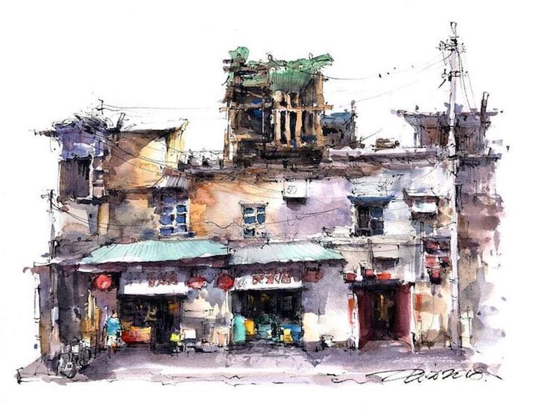 aquarelle peintures Zhifang Shi, Ce Voyageur Peint à l'Aquarelle les Devantures de Boutiques en Asie