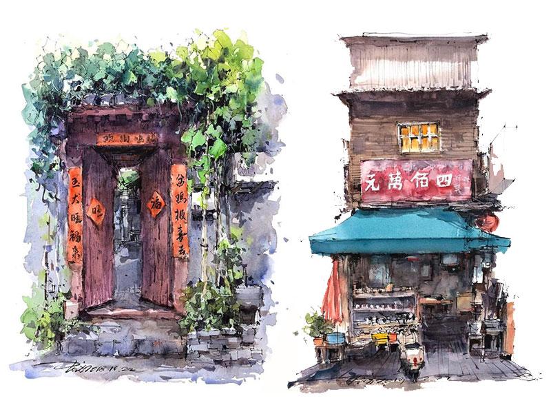 aquarelle boutiques zhifang shi 2 - Ce Voyageur Peint à l'Aquarelle les Devantures de Boutiques en Asie