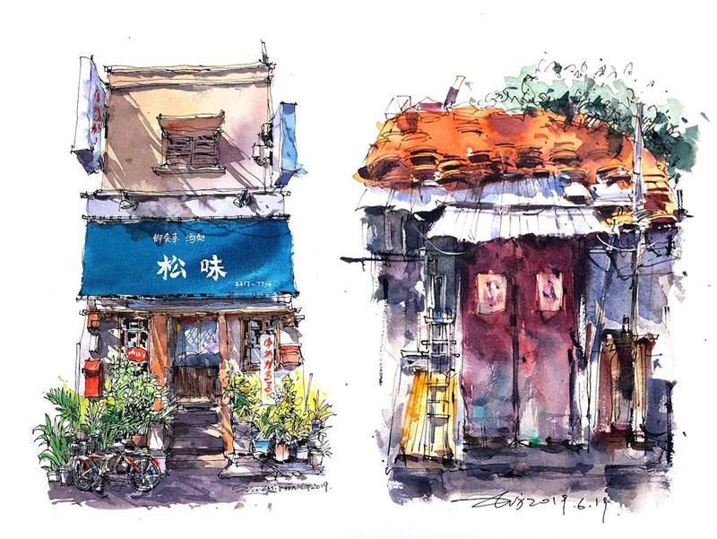 aquarelle boutiques zhifang shi 3 - Ce Voyageur Peint à l'Aquarelle les Devantures de Boutiques en Asie