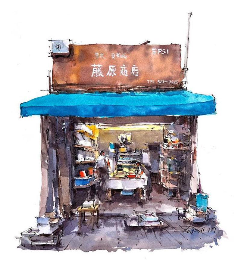 aquarelle boutiques zhifang shi 4 - Ce Voyageur Peint à l'Aquarelle les Devantures de Boutiques en Asie