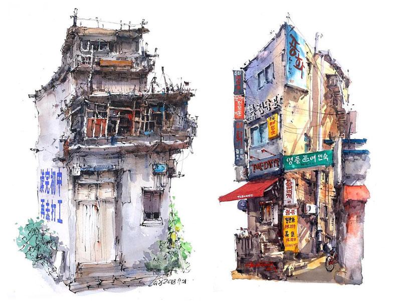 aquarelle boutiques zhifang shi 5 - Ce Voyageur Peint à l'Aquarelle les Devantures de Boutiques en Asie