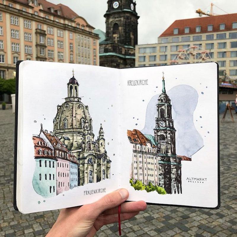 aquarelle villes danny hawk 01 - Cet Artiste Peint à l'Aquarelle les Villes d'Europe qu'il Visite