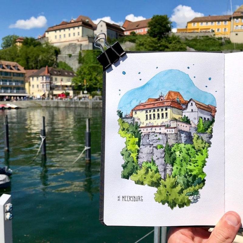 aquarelle villes Danny Hawk, Cet Artiste Peint à l'Aquarelle les Villes d'Europe qu'il Visite