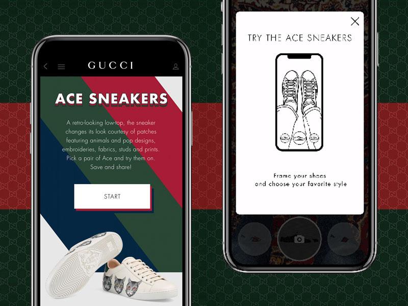 Gucci Ace, Essayer les Baskets Gucci Ace en Réalité Augmentée