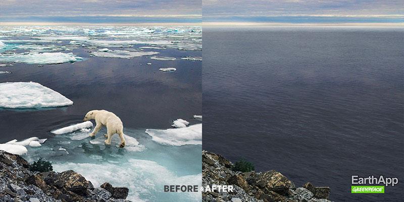 EarthApp, EarthApp pour Voir le Monde Avant et Apres le Réchauffement Climatique