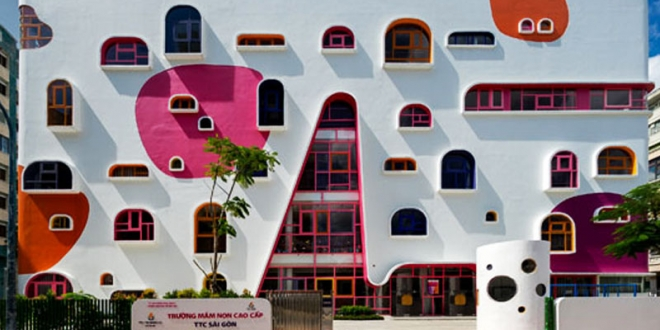 jardin enfants design architecture vietnam 01 660x330 - Architecture Ludique pour un Jardin d'Enfants Inspirant