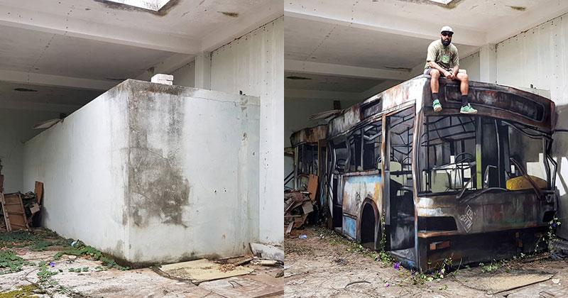 street art 3d illusion odeith 05 - Odeith Transforme un Bloc de Ciment en Bus Scolaire 3D