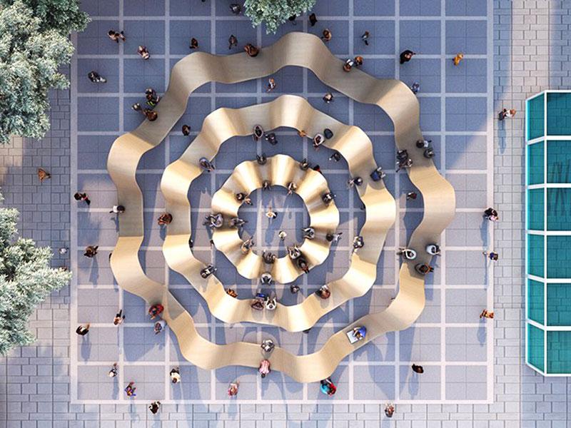 banc, Sculptural Banc Public en Planches Recyclées et Ondulées