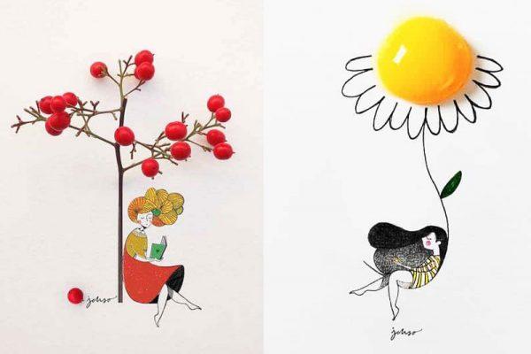 illustrations 3d collage jesuso ortiz 08 600x400 - Fruits et Fleurs Complètent ces Poétiques Illustrations 3D de Jesuso Ortiz