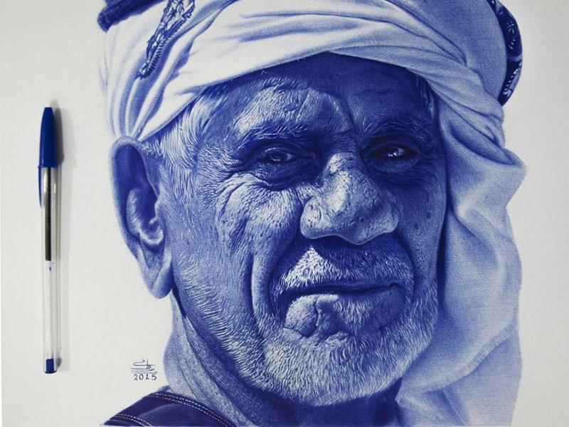 Portraits Stylo à Bille, Portraits Réalistes Dessinés au Stylo à Bille par Khodeir
