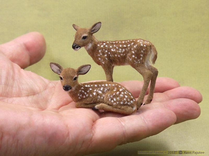 sculptures animaux miniatures Kerri Pajutee, Réalistes Sculptures d'Animaux Miniatures de Kerri Pajutee