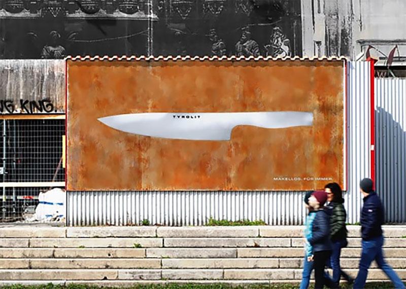 Tyrolit, Cette Affiche Rouille mais pas le Couteau Tyrolit qu'elle Présente