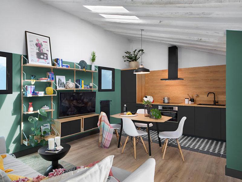 appartement couleurs Madrid, Relaxante Déco en Vert et Noir pour cet Appartement Madrilène