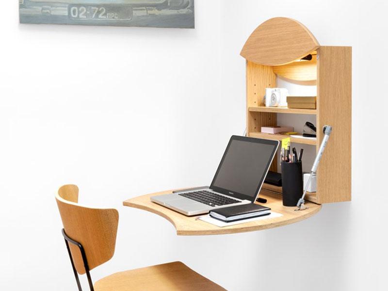 bureau mural petits espaces, Bureau Mural Pliable au Design Pragmatique pour Petits Espaces