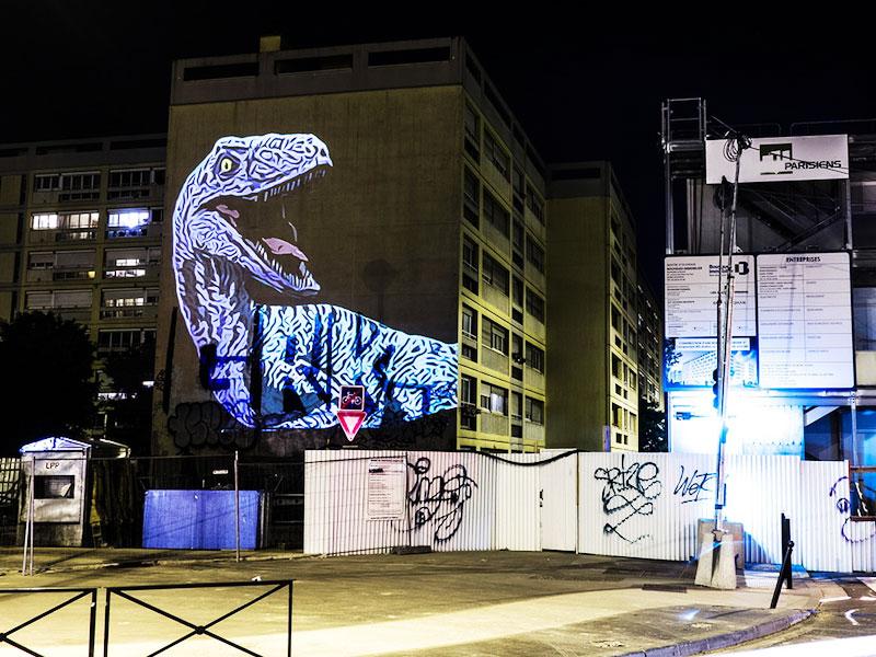 dinosaures Paris Julien Nonnon, Des Dinosaures dans Paris par l'Artiste Julien Nonnon