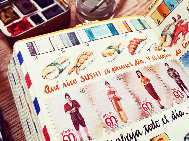 carnets de voyage José Naranja, Les Carnets de Voyage de José Naranja Fourmillent d'Illustrations