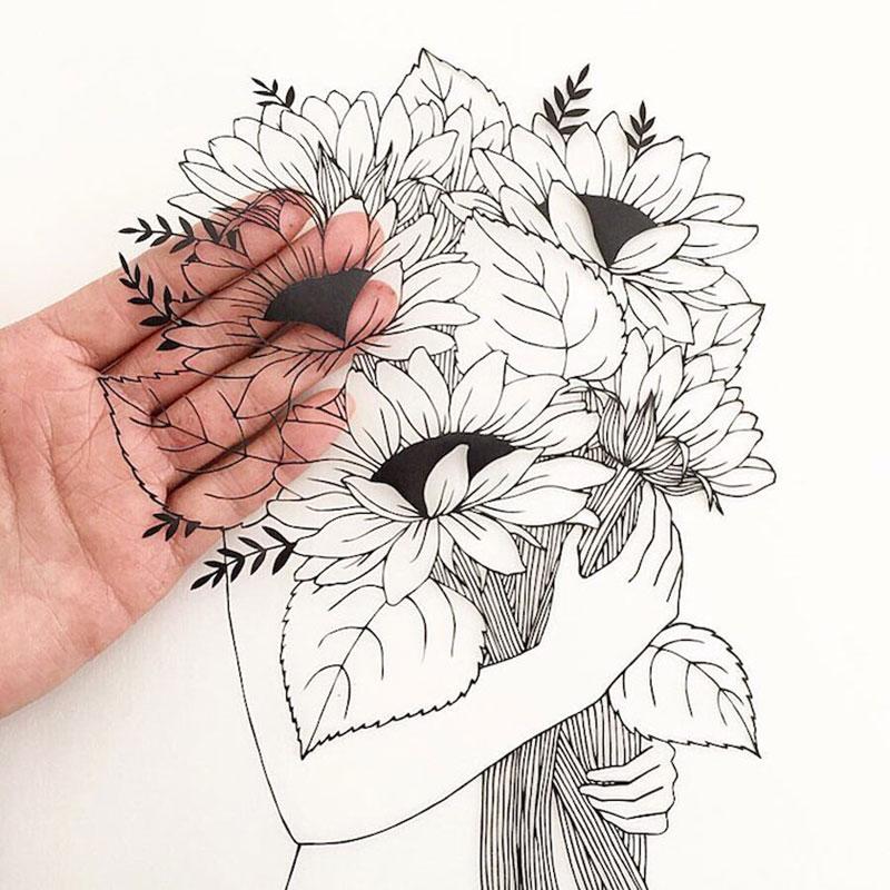 Kanako Abe, Délicates Illustrations en Papier Découpées par Kanako Abe