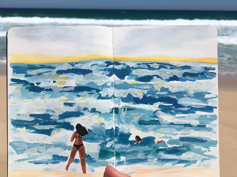 peintures voyages Angela Mckay, Les Carnets de Voyages Peints par l'Artiste Angela Mckay