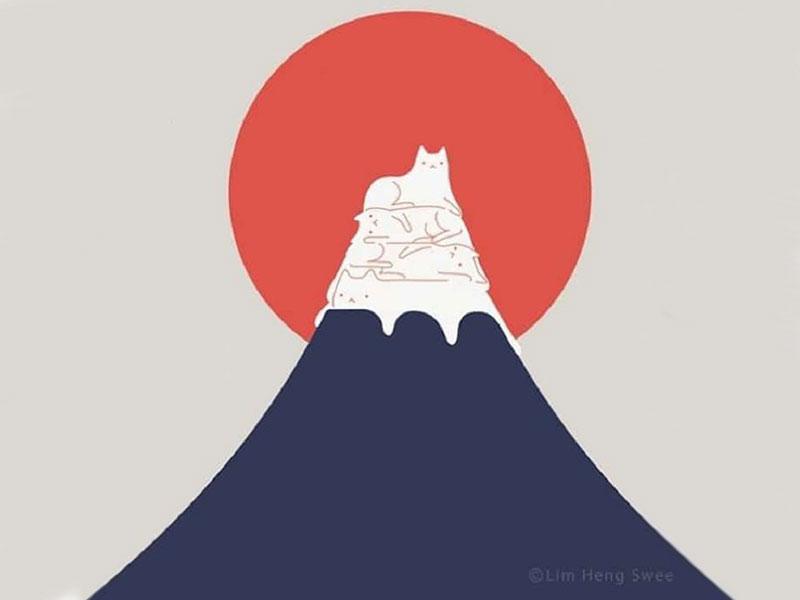 Lim Heng Swee chats paysage, Pour Lim Heng Swee les Chats se Fondent dans les Paysages