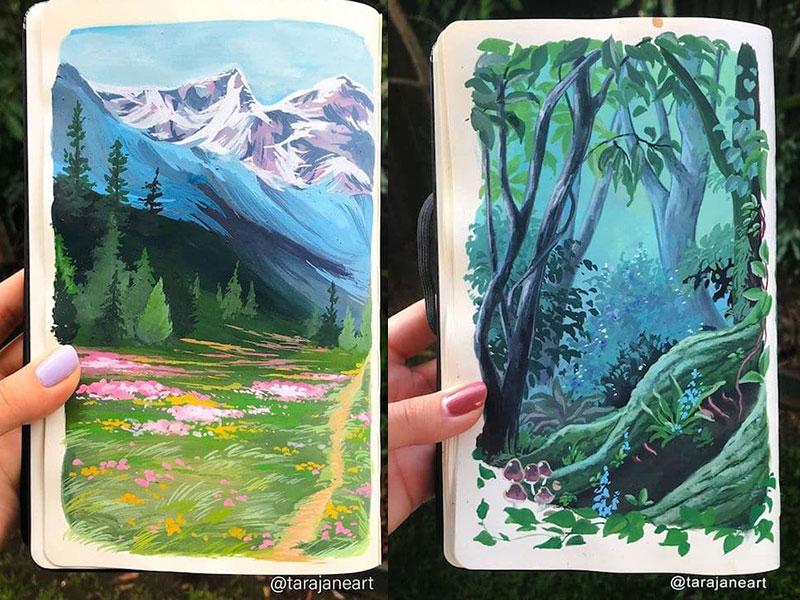 Tara Jane nature carnets, Tara Jane Peint dans ses Carnets une Nature Eclatante