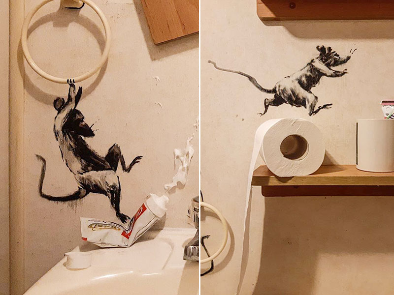 Banksy confinement, Dans la Salle de Bain de Banksy des Rats s'Amusent