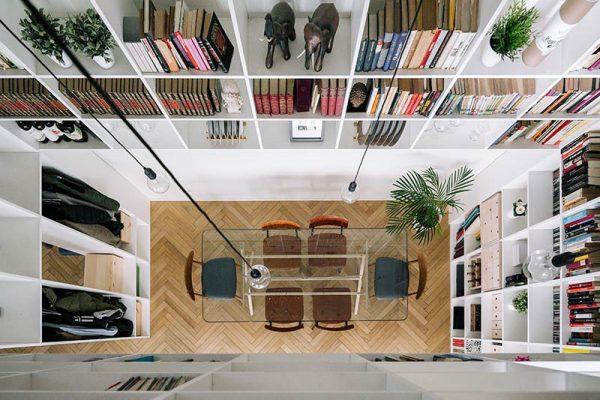maison bibliothèque double hauteur, Bibliothèque à Double Hauteur sur les 2 Etages de cette Maison Madrilène