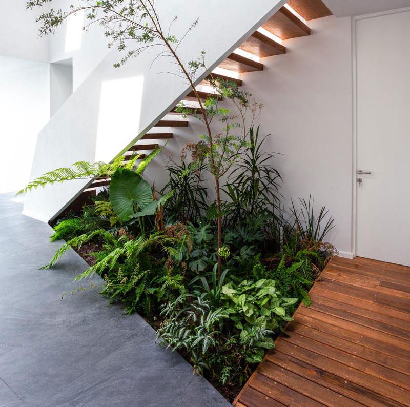 jardin intérieur sous escaliers maison, Ce Jardin Intérieur Utilise l'Espace Vide sous les Escaliers