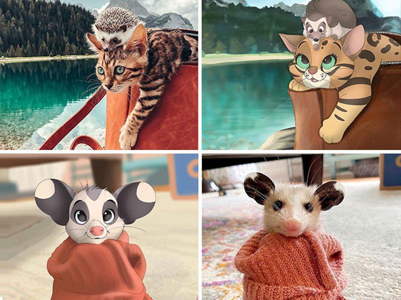 Isa Bredt animaux Disney, Isa Bredt Transforme en Personnages Disney les Photos de vos Animaux