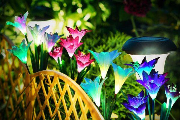 Lampes LED Solaires Fleurs de Nénuphars de Jardin