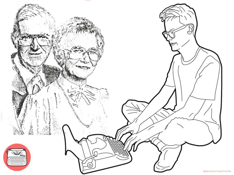 L Artiste James Cook Dessine Avec Une Machine A Ecrire Video Maxitendance