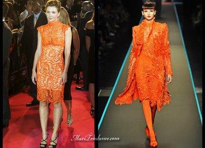 2da853e8685bd Maggie Gyllenhaal en Robe Dentelle Jean Paul Gaultier Couture 2008 ...